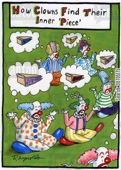 spiritualism cartoon humor: How Clowns Find Their Inner Peace.
