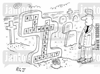 crosswords cartoon humor: Headstone of a crossword addict