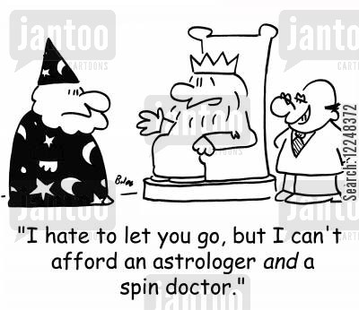 merlin cartoon humor: 'I hate to let you go, but I can't afford an astrologer AND a spin doctor.'