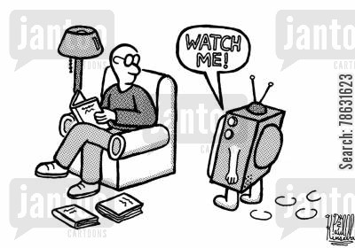 anthropomorphism cartoon humor: TV says 'Watch me!'
