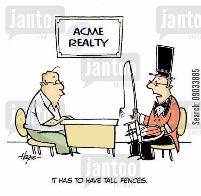 circus cartoon humor: 'It has to have tall fences.'
