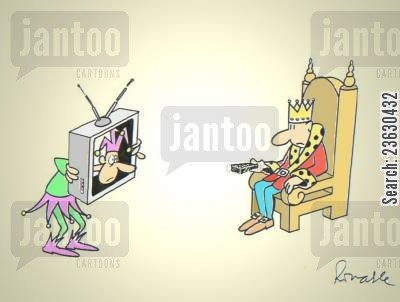 court jester cartoon humor: Remote controlled jester.