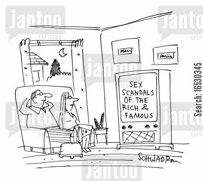 reality television cartoon humor: Sex Scandals of the Rich and Famous.