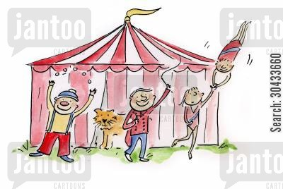 acrobats cartoon humor: Circus