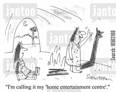 crudity cartoon humor: I'm calling it the home entertainment centre.