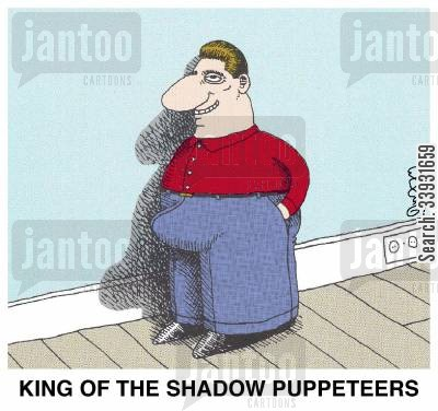 profile cartoon humor: King of the Shadow Puppeteers.