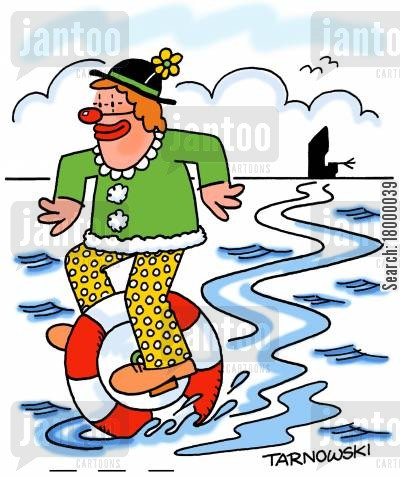 rubber ring cartoon humor: Clown escaping a shipwreck on an inflatable unicycle.