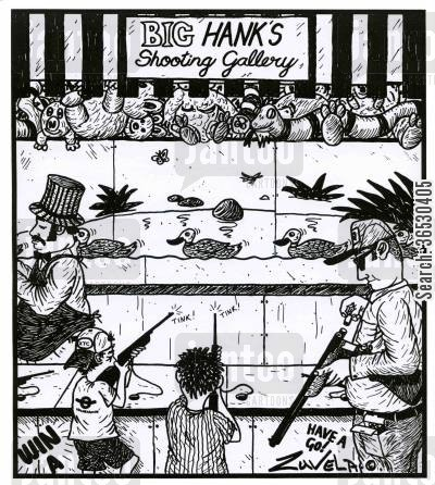 fairground cartoon humor: Big Hank's shooting gallery.