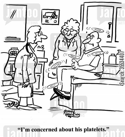 plates cartoon humor: Doctor about spinning plates on patient: 'I'm concerned about his platelets.'