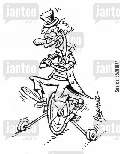 stabilisers cartoon humor: Unicycle with stabilisers