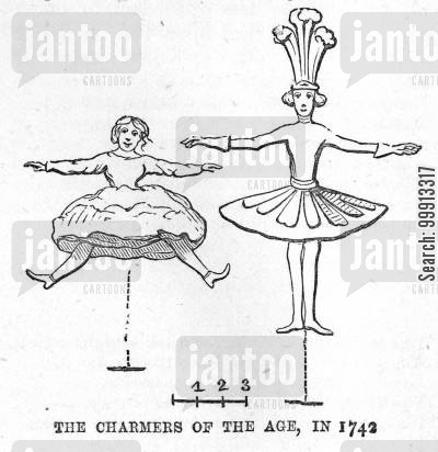 entertainment cartoon humor: Satire on the dancing of masqurade performers Monsieur Desnoyer and Signora Barberina in 1742