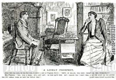 disinterested cartoon humor: lady expresses her dissinterest for her previous guest, making her current one feel uneasy