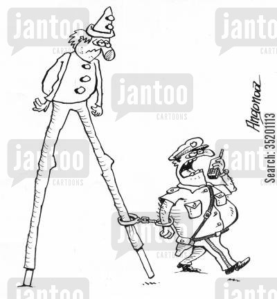 stilt cartoon humor: Arresting a clown.