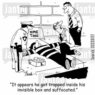 invisible box cartoon humor: 'It appears he got stuck trapped inside his invisible box and suffocated.'
