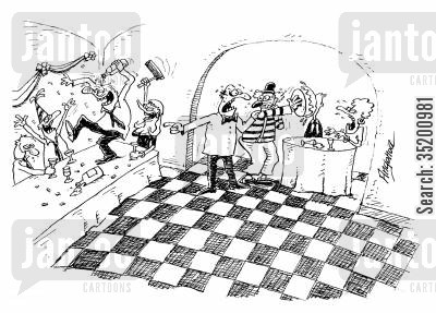 office party cartoon humor: Clown surprising the wrong party in a restaurant.