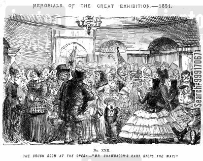 audiences cartoon humor: Memorials of The Great Exhibition - 1851. No. XXII - The crush room at the opera. - 'Mr. Chawbacon's cart stops the way!'