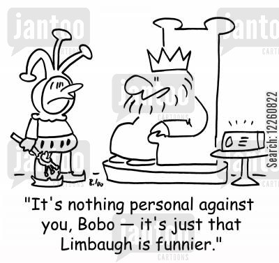 rush limbaugh cartoon humor: 'It's nothing personal against you, Bobo -- it's just that Limbaugh is funnier,'