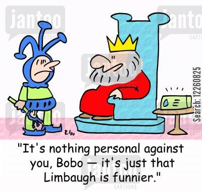 limbaugh cartoon humor: 'It's nothing personal against you, Bobo -- it's just that Limbaugh is funnier,'