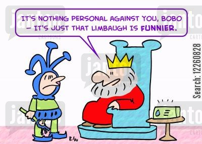 limbaugh cartoon humor: 'It's nothing personal against you, Bobo -- it's just that Limbaugh is funnier.'