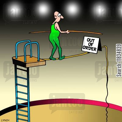 highwire cartoon humor: Out of order tightrope.
