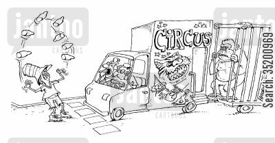 traffic jam cartoon humor: Juggler entertaining a circus troupe at traffic lights.