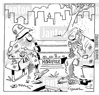 monoply cartoon humor: Tramps Play Monoply