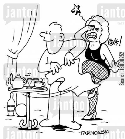 clumsiness cartoon humor: Magician hitting someone while performing a trick.