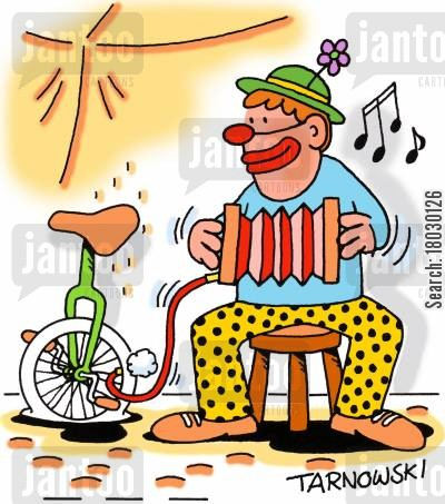 flat cartoon humor: A clown inflates a tyre while playing an accordion.