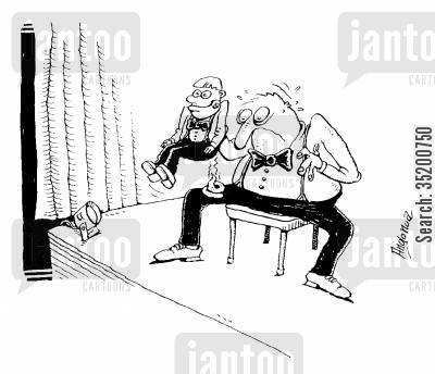 stage cartoon humor: Ventriloquist shocked to find dummy has relieved himself on his knee