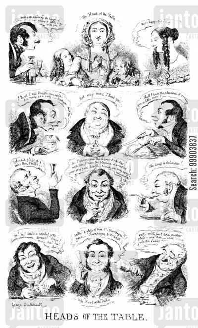 victorian cartoon humor: Dinner Party Conversation