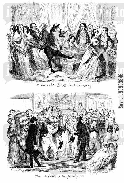 victorians cartoon humor: The 'Horrible Bore in the Company' Compared with the 'Lion of the Party'