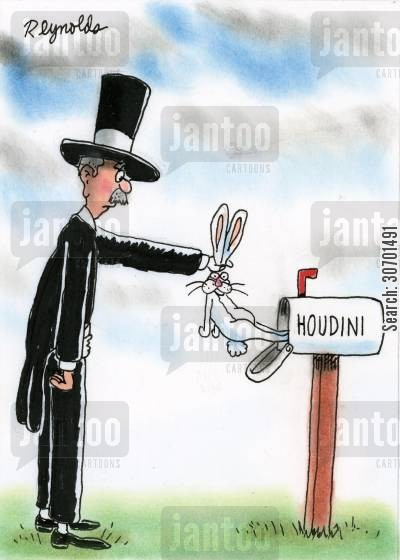 letter box cartoon humor: Houdini pulls a rabbit out of his mail box.