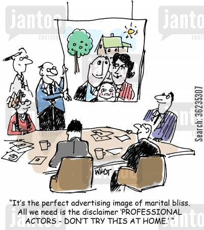 liability cartoon humor: It's the perfect advertising image of marital bliss. All we need is the disclaimer 'PROFESSIONAL ACTORS - DON'T TRY THIS AT HOME.'