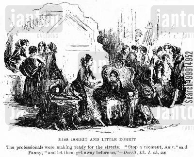streets cartoon humor: Miss Dorrit and Little Dorrit