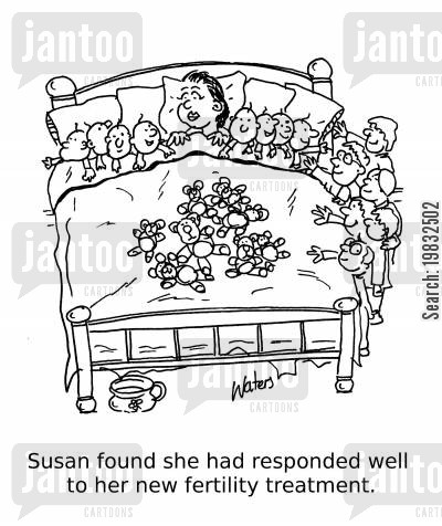 fertility cartoon humor: Susan found she had responded well to her fertility treatment.