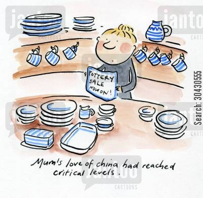 sussex cartoon humor: Mum's love of china had reached critical levels.