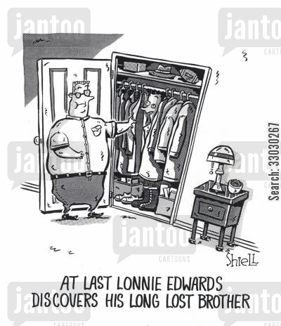 hide and seek cartoon humor: At last Lonnie Edwards discovers his long lost brother.