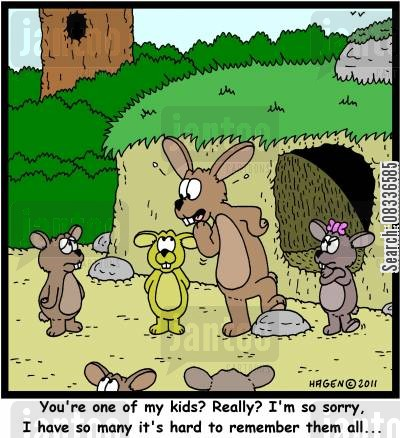 family breakdown cartoon humor: 'You're one of my kids? Really? I'm so sorry, I have so many it's hard to remember them all...'