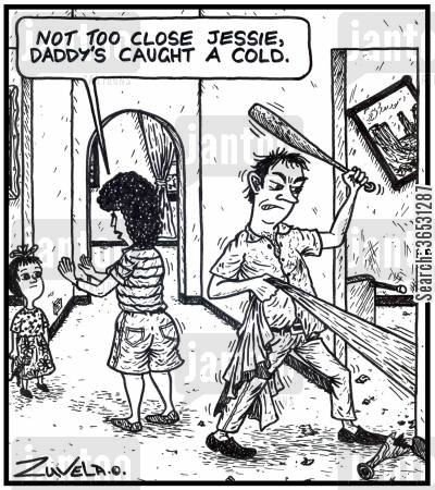 intruder cartoon humor: 'Not too close Jessie, Daddy's caught a cold.' (A father catches a cold in a blanket and is struggling with it).