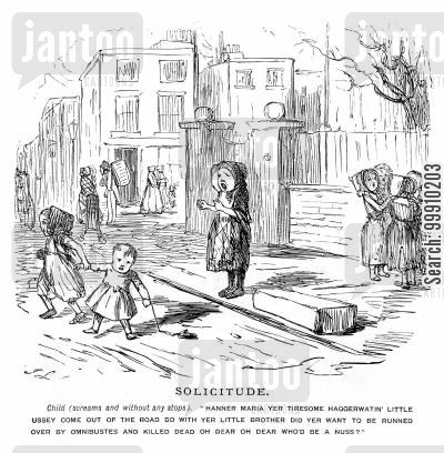 lower classes cartoon humor: Children Playing In The Street.