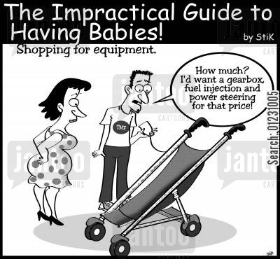 push chair cartoon humor: Rocket priced prams.