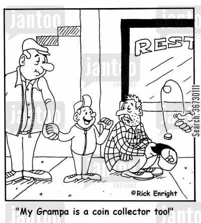 coin collectors cartoon humor: 'My Grampa is a coin collector too!'
