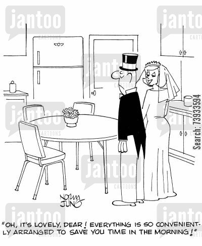 time saving cartoon humor: 'Oh, it's lovely, dear! Everything is so conveniently arranged to save you time in the morning!'