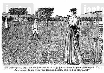 female batter cartoon humor: 'Now, just you look here, Algy Jones - None of your patronage! You dare to bowl me with your left hand again, and I'll box your ears!'
