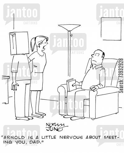 nerve cartoon humor: 'Arnold is a little nervous about meeting you, dad.'