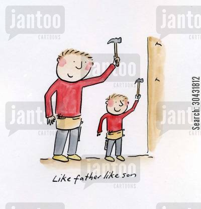 like father like son cartoon humor: Like father like son.