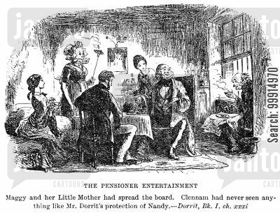 dickens cartoon humor: The pensioner entertainment