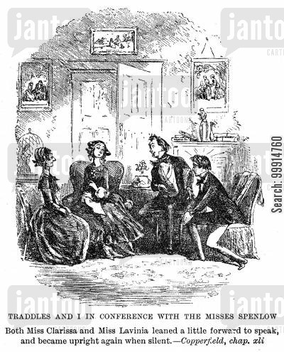 david copperfield cartoon humor: Traddles and I in conference with the Misses Spenlow