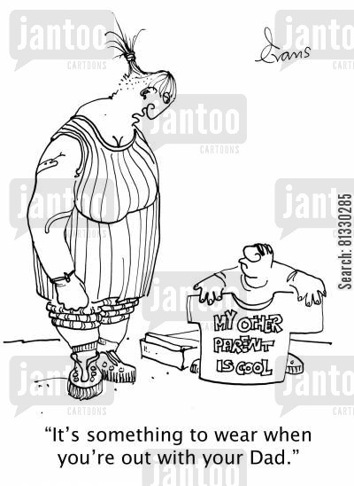messy divorce cartoon humor: 'It's something to wear when you're out with your Dad.'