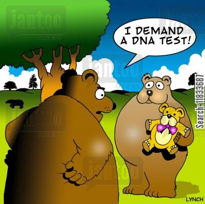 paternity testing cartoon humor: 'I demand a DNA test.'